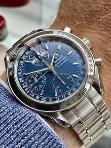 Omega Speedmaster Reduced Triple Date Blue Dial Men's Automatic Cal 1151 Watch