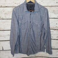 INC International Concepts Button Up Long Sleeve Shirt Pearl Snaps Blue Medium
