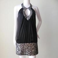 SEDUCE Black Silk and Silver Lurex Halter Neck Mini Dress Size 8 - 10 US 4 - 6