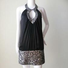 SEDUCE Black Silk and Silver Lurex Halter Neck Mini Dress Size 8 - 10 US 4 - 6
