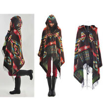 Women's Poncho Scarf Boho Aztec Knitted Hooded Coat Shawl Hoodie Tassels Cape
