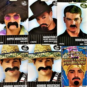 Black Moustache and Beards Halloween Costume Accessories - Bulk Buy of 6 Sets!