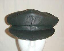 Black Leather Cap Hat Vintage Wilson Leather Pelle Studio inv1803