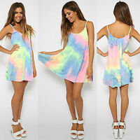Womens Summer Beach Bikini Cover Up Boho Swimwear Rainbow Vest Swing Sun Dress