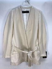 Zara Beige Linen Jacket Blazer Size Medium Ref 2296 285