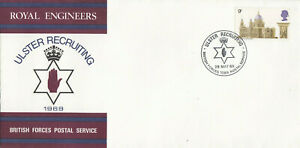 (68318) GB BFPS FDC Cathedrals Royal Engineers Ulster Recruiting BFPS 1969