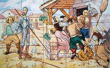 AZULEJOS PINTADOS A MANO de CERÁMICA 45x75cm * DON QUIJOTE Y SANCHO en la venta
