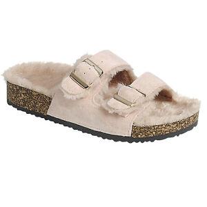 New Faux Fur Lining Slide Buckle Double Strap Flat Molded Footbed Slipper Sandal