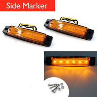 2 x 6 LED Side Marker Indicators Tail Lights Lamp for Truck Trailer Bus Boat 12V