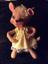 VINTAGE ANNALEE GIRL MOUSE DOLL WITH YELLOW DRESS 1993