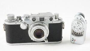 Leitz Wetzlar Leica IIIc 35mm Kamera mit Elmar 5cm F3.5 Lens & Leitz Leica-Meter