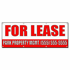 FOR LEASE CUSTOM NAME PHONE NUMBER RED Banner Sign 2 ft x 4 ft w/4 Grommets