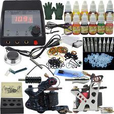 Two Machine Tattoo Kit Machine +12 Color Inks Complete Tattoo Set Tool+Needle