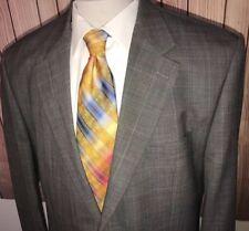 Lauren Ralph Lauren Men Gray Baby Blue Plaid Blazer Sport Coat Sz 44L 100% Wool