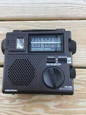 Grundig FR-200 AM/FM/SW Emergency Crank Radio World Band Receiver Manuals & Case