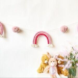 Handmade Rainbow Pom Pom Yarn Baby Room Decor Farmhouse Wall Garland Baby Shower
