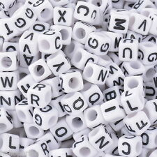 "500 Mixed White Acyrlic Letter/ Alphabet Cube Beads 6x6mm(1/4""x1/4"")"