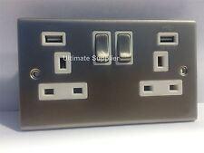 2 Gang Twin Double Socket con 2 USB PORT 3.1 un Caricabatterie Telefono Tablet CROMO SATINATO