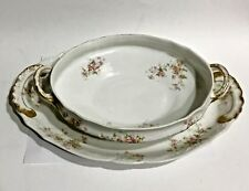 Theodore Haviland Limoges France Gravy Bowl and Platter Roses with Gold Trim