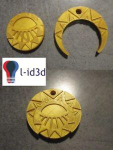 Médaillon mystérieuses cités d'or imprimé en 3d en PLA couleur or diamètre 6cm