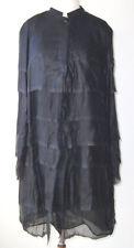 HAUTE Black Sheer Silk Deconstructed Raw Edge Crinkle Duster Coat 42 8