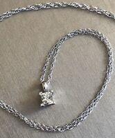 Platinum Princess Cut Solitaire Diamond Necklace 0.60ct Pendant 18ct Gold Chain