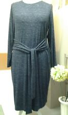 M&S SOFT JERSEY BELTED CLASSIC STYLED DRESS 20 EUR 48 CHARCOAL B.N.W.T.