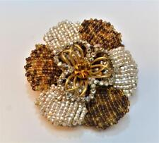 40s Signed MIRIAM HASKELL Goldtone White Brown Seed Bead FLOWER Shape Pin Brooch
