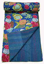 "Handmade Kantha Quilt 100% Cotton Kantha Bed Cover Cotton Bedspread Blanket 90"""