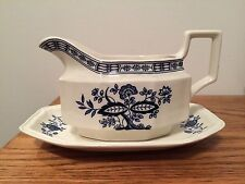 Kensington Staffordshire Coventry Blue Gravy Boat with Underplate