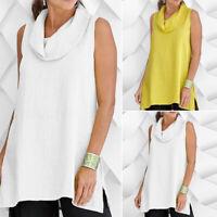 ZANZEA Women Sleeveless Summer Tank Tops Casual Split Hem Blouse Shirt Cami Plus