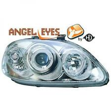 LHD Projector Headlights Pair Angel Eyes Clear Chrome For Honda Civic Saloon