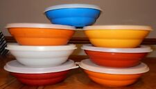 Vintage Tupperware 7 Cereal Bowls with 7 Lids Mixed Lot of Colors Plastic Kids