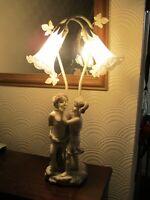 VINTAGE ART NOUVEAU STYLE LAMP CHERUBS LOVING COUPLE 58CMS TALL
