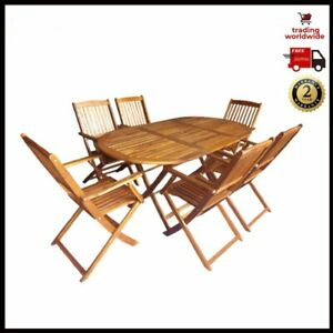 Outdoor Dining Table And 6 Folding Chairs Set Acacia Solid Wood Garden Furniture
