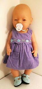 "16"" Realistic Newborn Baby Born Doll With Pink Eyes & American Girl Dress"