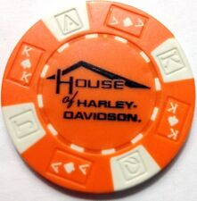 Harley Poker Chip   HOUSE OF HARLEY   MILWAUKEE, WI     ORANGE & WHITE