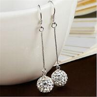 Womens Silver Crystal Ball Long Hook Ear Stud Drop Dangle Earrings Jewelry Gift