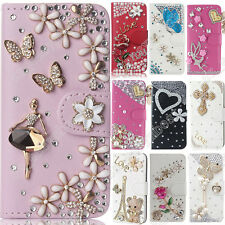 DIY Bling Diamond Flip Leather Wallet Case Litchi pattern Stand Cover For Sony