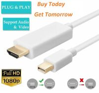 1.8M Quality Mini DisplayPort to HDMI AV Cable Adapter Mac to TV Video+Audio