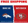 Denver Broncos vs San Francisco 49ers House Divided Flag Banner 3x5 ft 2019 NEW