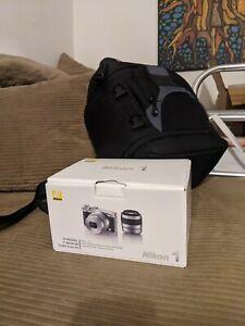 Nikon 1 J5 Mirrorless Camera Double Zoom Kit Silver 3 Lenses /w Accessories Mint