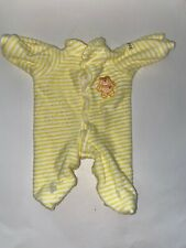 Vtg CABBAGE PATCH KIDS Coleco Yellow White Striped Sleeper Pajamas Bear Outfit