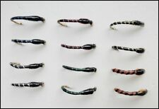 Crisp Packet buzzers, Trout Fishing Flies, 12 Pack, Mixed Colours, Size 10 to 14