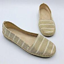 03bb86e4f35 Aerosoles Stich n Turn Women Gold White Canvas Espadrilles Shoe SZ 10 Pre  Owned