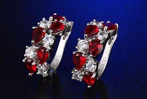 Red Ruby Diamond Hoop Dangle Earrings Women Jewelry 14K Gold
