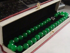"18""elegant HUGE 10MM NATURAL circular AAA+++ GREEN JADE NECKLACE"