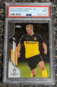 2019-20 Topps Chrome UEFA Champions League Erling Haaland Rc Rookie PSA 9 Mint