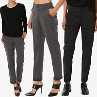 TheMogan Timelss Dressed Up Straight Leg Cuffed Crop Trouser Office Suit Pants