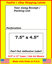1500 Adhesive Labels w/ Tear off Paper Receipt. Ebay and Paypal Laser / Ink Jet